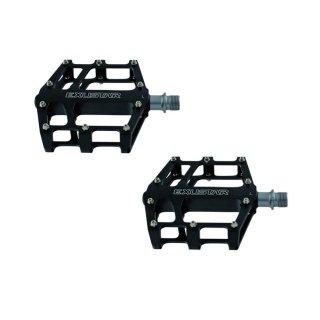 EXUSTAR, Pedale, MTB E-PB525, schwarz, Plattformpedal, CNC Alu-Käfig, Cro-MO-Achse, Industriekugellager, 358g/Paar